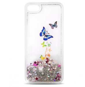 Futerał Liquid Glitter Butterfly Brokat iPhone 6 /6S srebrny